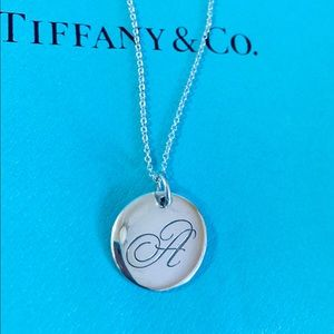 "Tiffany & Co. Sterling Silver Initial ""A"" Necklace"